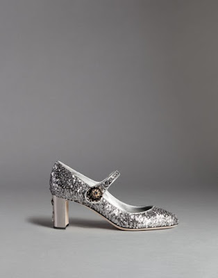 glittery silver low block heeled mary jane shoes
