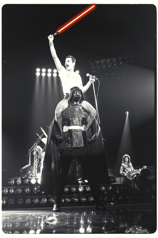 Encontro épico: Freddie Mercury e Darth Vader