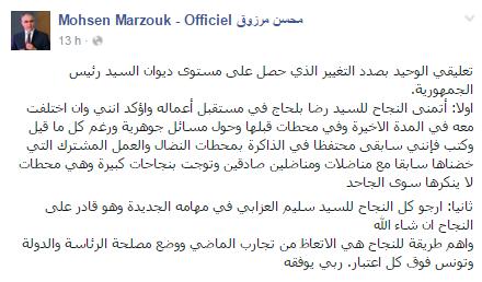 Dans un article publié sur sa page officielle Facebook, Mohsen Marzouk est revenu sur la démission de Ridha Belhaj, ancien directeur du cabinet présidentiel.
