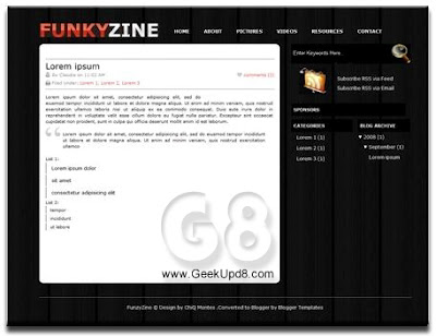 Funky Zine - 2 Columns, Right Sidebar, Black, Business