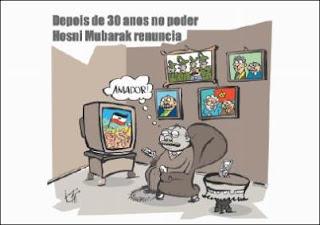 Sarney critica Mubarak por deixar o poder. Charge.
