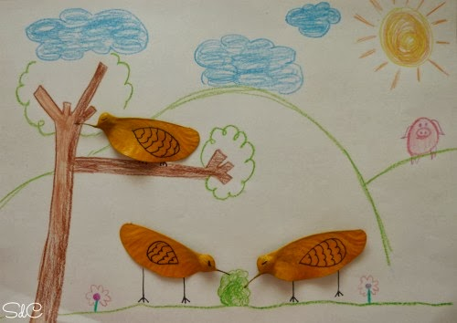 Hojas pintadas manualidad niños
