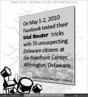 On May 1-2, 2010 Facebook tested their trial theater tricks with 70 unsuspecting Delaware citizens at the Riverfront Center, Wilmington, Delaware.