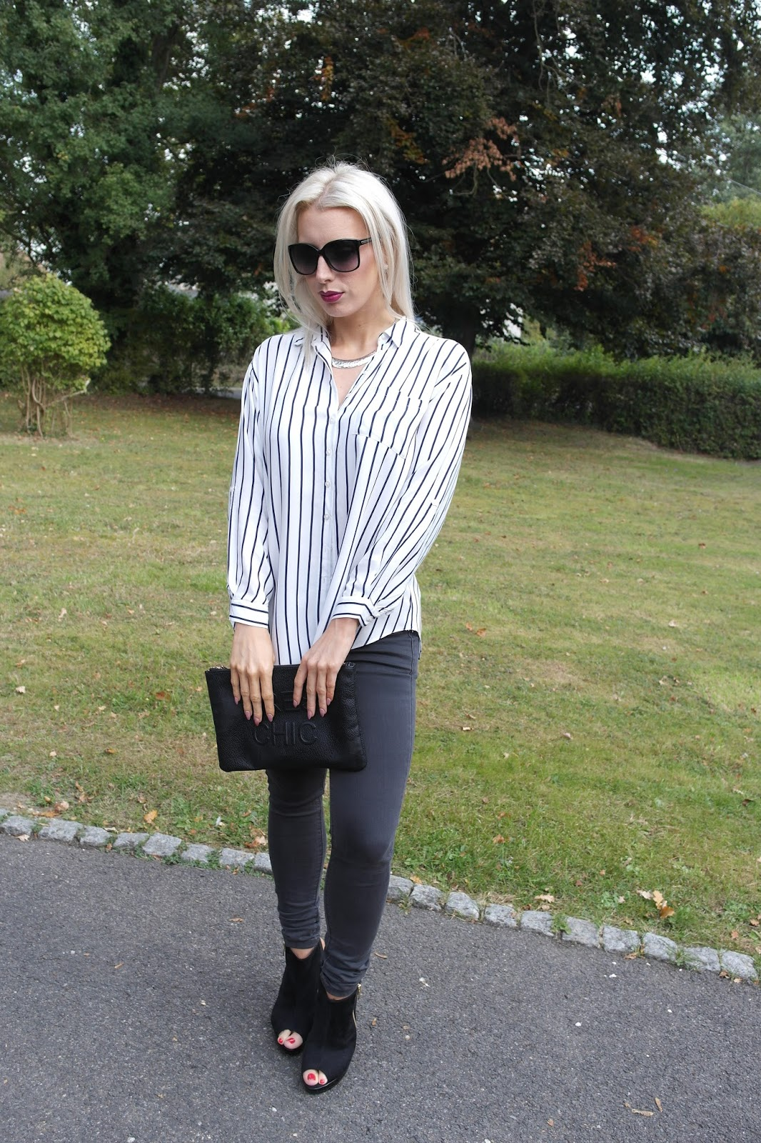 Miss Selfridge Stripped shirt, ootd, fashion blogger, grey jeans