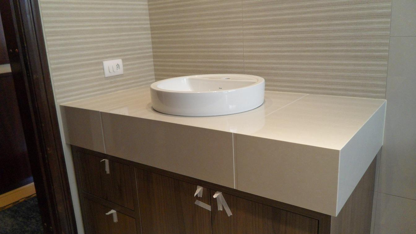 Bel Taglio , cortes especiais em porcelanato Bancada porcelanato 60 x 60 Ge # Pia Bancada Banheiro Porcelanato