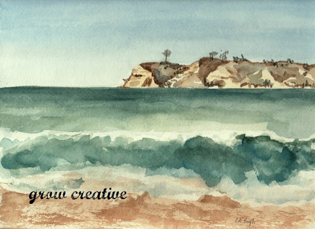 Watercolor Ocean Landscape