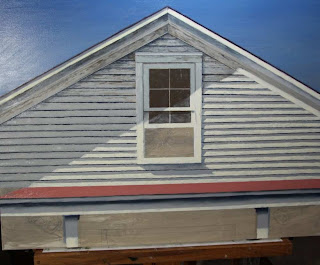Architectural realism, white house attic, chipping paint, red roof, open window below peak, blue sky