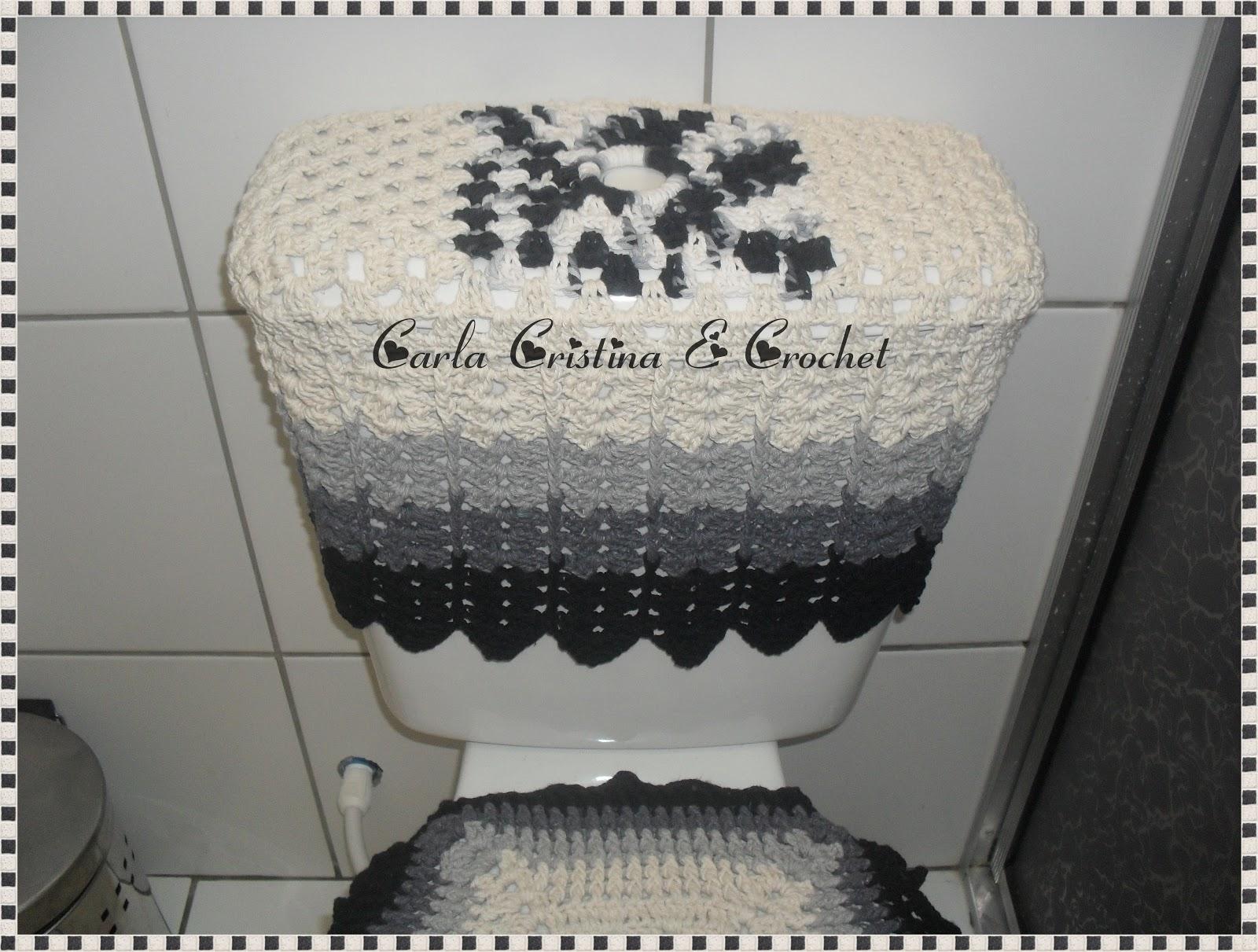 Carla Cristina & Crochet: Conjunto em Crochê Degradê Preto #70695B 1600x1211 Banheiro Acessível Com Caixa Acoplada
