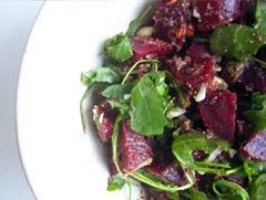 Beetroot Salad with Rocket and walnut pesto