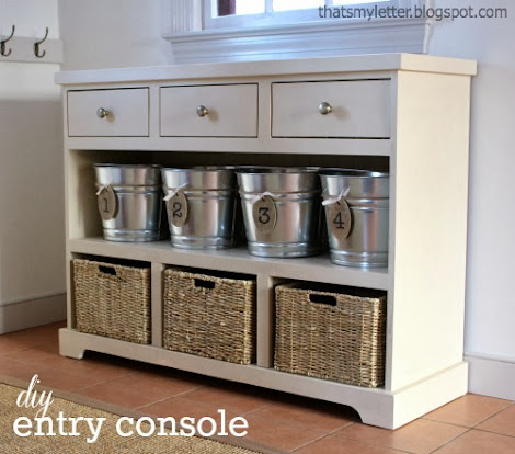 Ana White 3 Drawer Open Shelf Simple Entryway Console