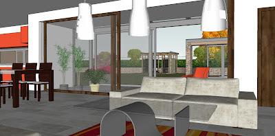 Rodinný pasivní dům - interiér obytné haly