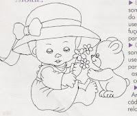 risco menina com chapéu e ursinho