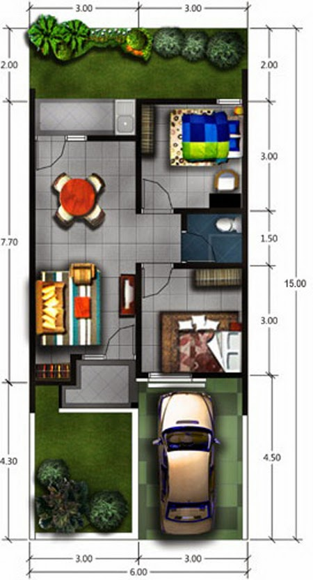 denah rumah minimalis impian 1 lantai