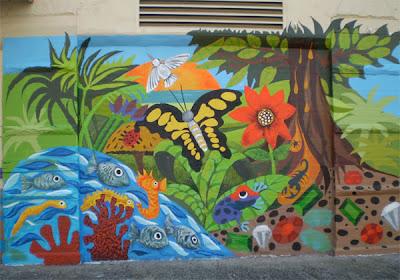 murals for walls - amber charter school mural - mural arts program - custom mural