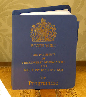Programme for a state visit in the office display in a Royal Welcome 2015 exhibition at Buckingham Palace Photo © Andrew Knowles