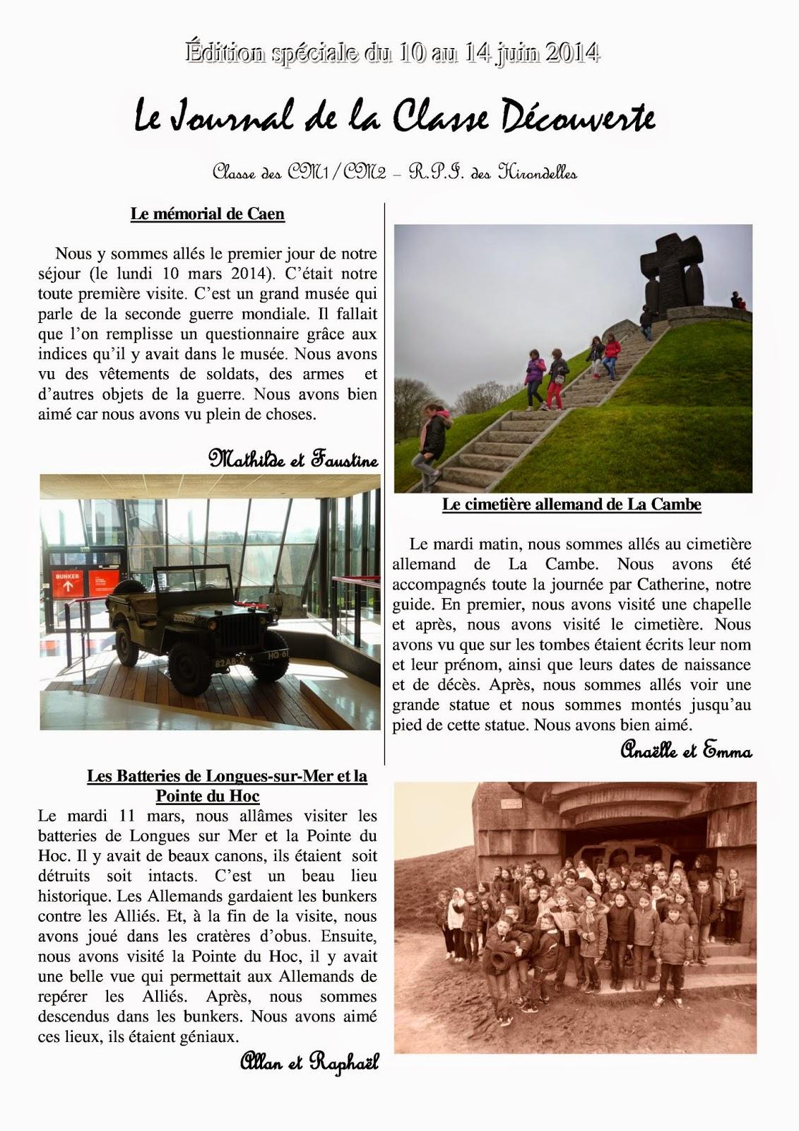 Classe d couverte normandie 2014 le petit journal de la classe d couverte - Journal de normandie ...
