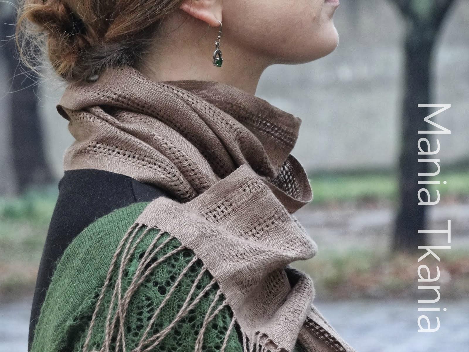 ręcznie tkany lniany szal huck lace