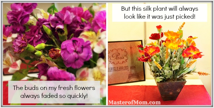Lifelike silk plants, fresh flowers dying, realistic silk plants