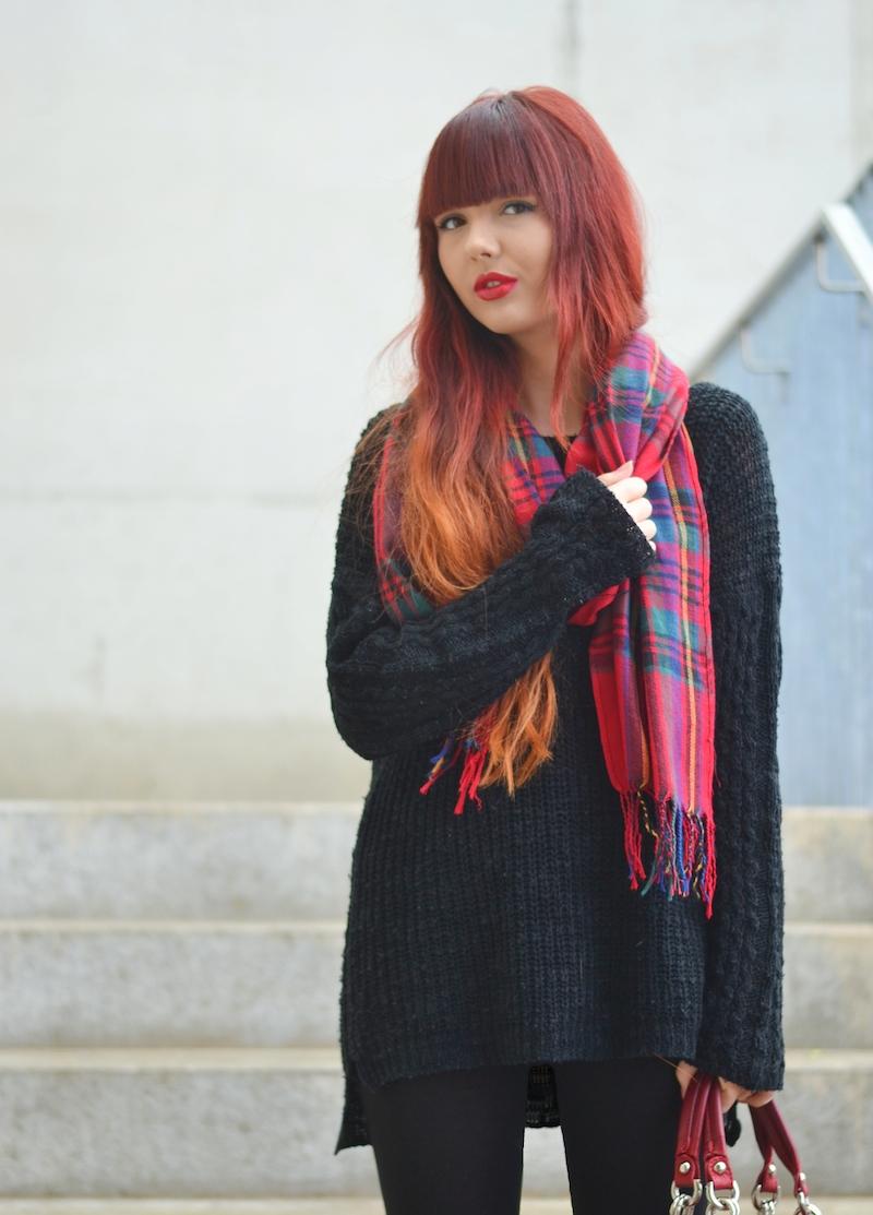 rot_karierter_Schal_Outfit_kombinieren_Winter