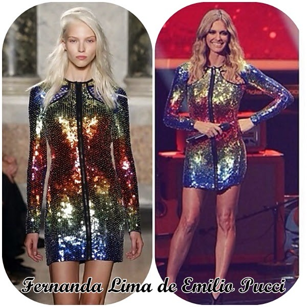 Fernanda Lima usando um vestido Emilio Pucci