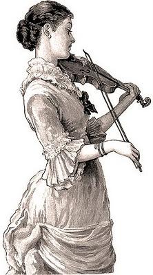 ilustración vintage dama tocando el violín
