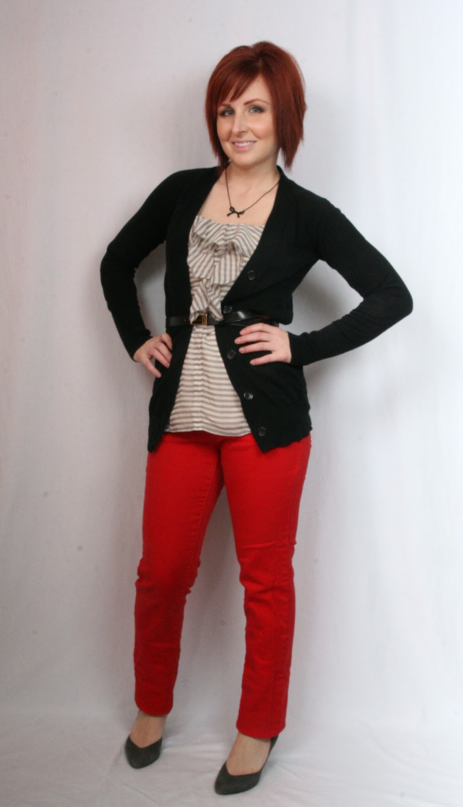 Thrift and Shout Cute Outfit of the Day Red Jeans