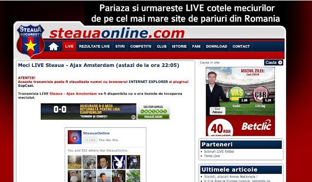 FC Steaua Bucuresti - Ajax Amsterdam online pe www.steauaonline.com