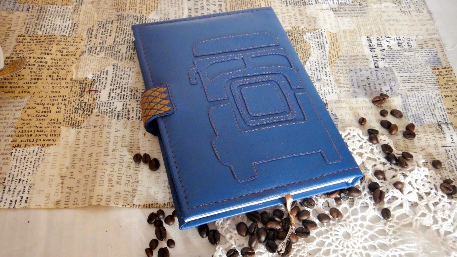 Кожаный ежедневник, синяя натуральная кожа, мужской датированный 2015