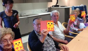 more residents having fun making cards