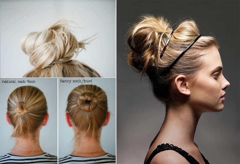 how to do twist hairstyles : top knot , sock bun tutorial , double headband messy bun }