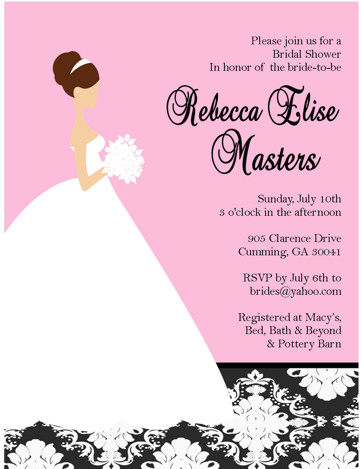 Classic Damask Bride: Bridal Shower Invitation