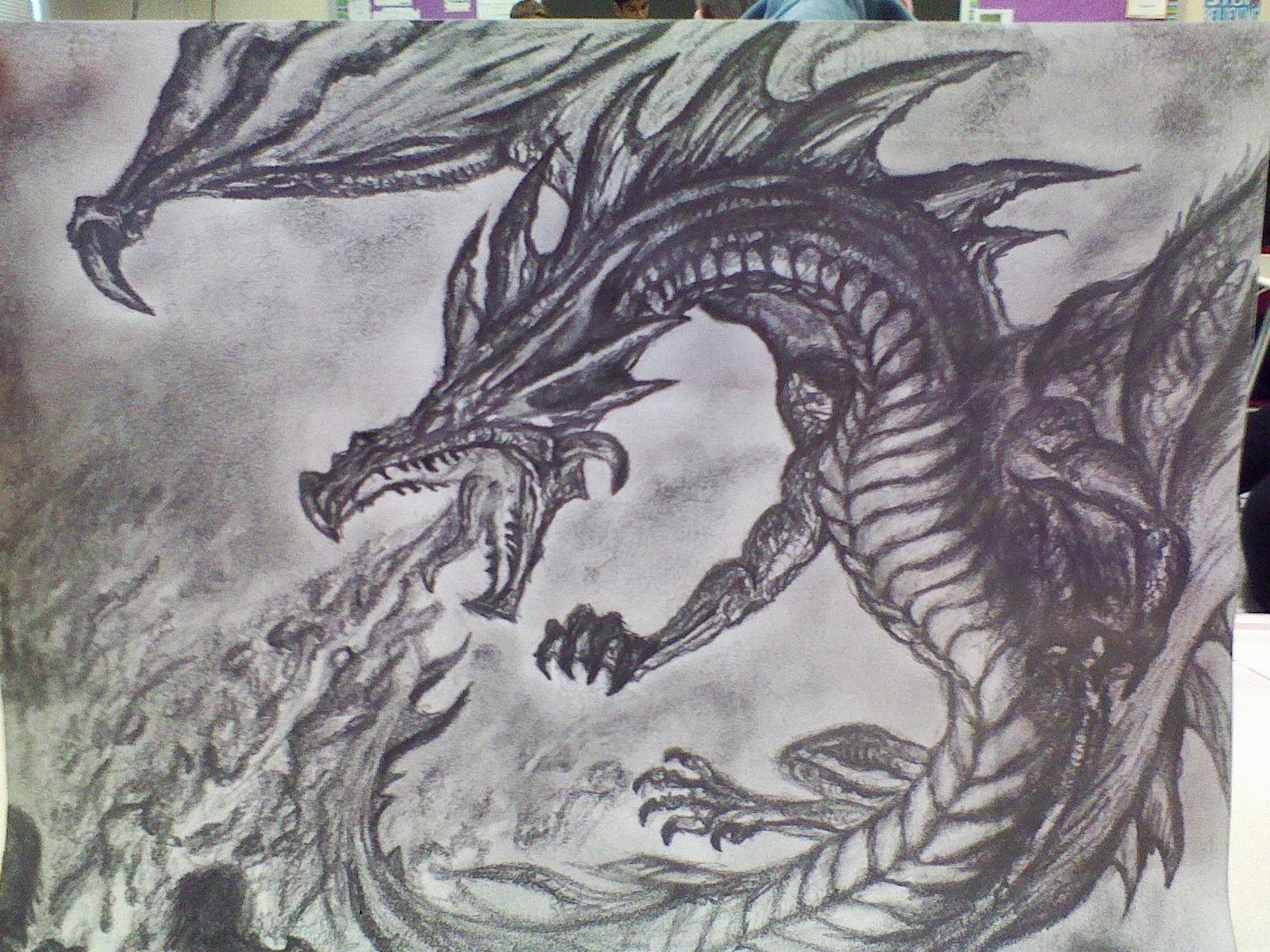 Graphite Drawings: Fire-breathing Beast