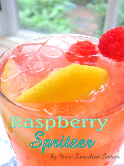 Raspberry Spritzer by Two Succulent Sisters | Featured on Making the World Cuter Monday for summertime drink recipes