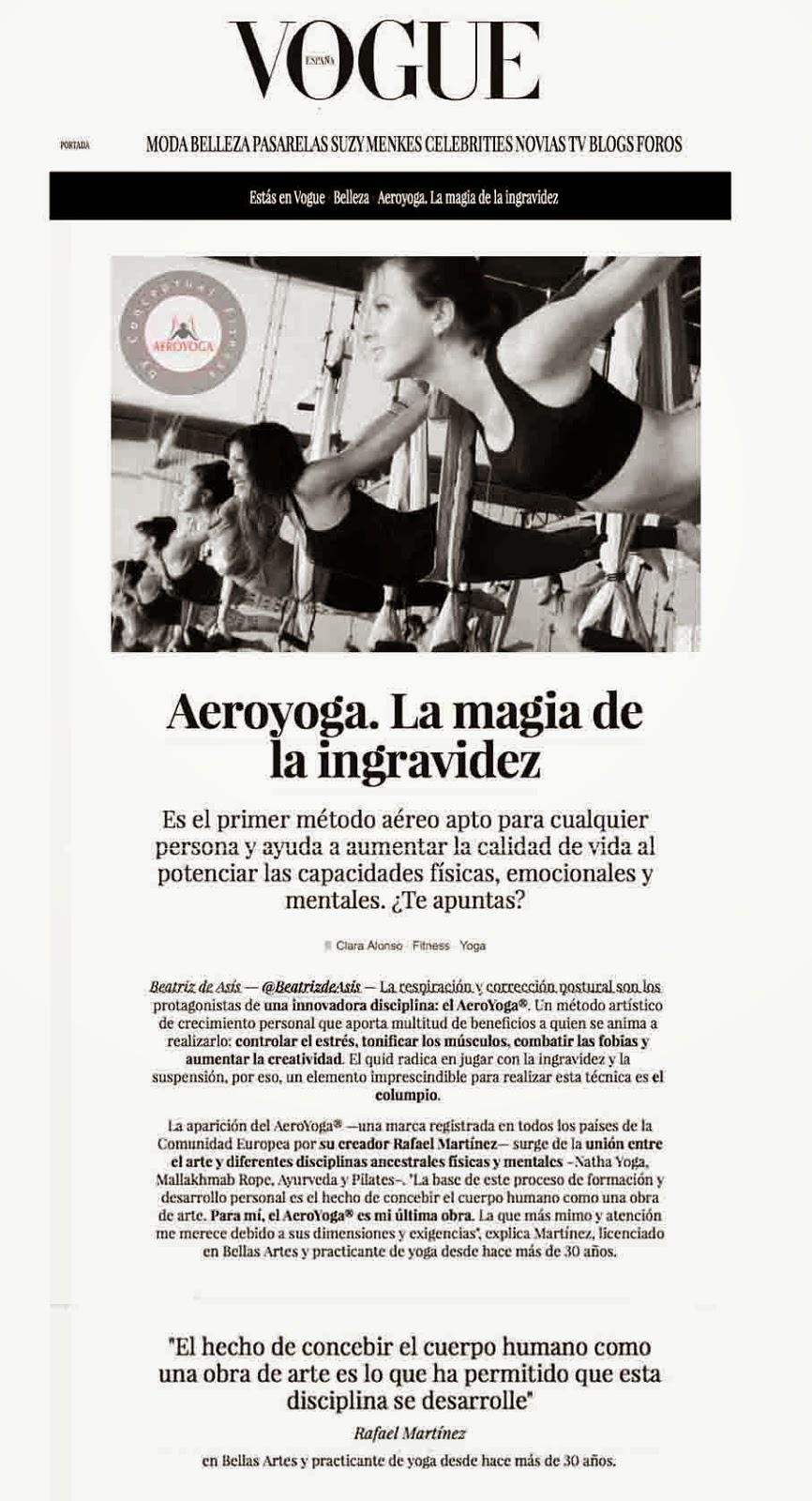 yoga aereo, aeroyoga® en Vogue