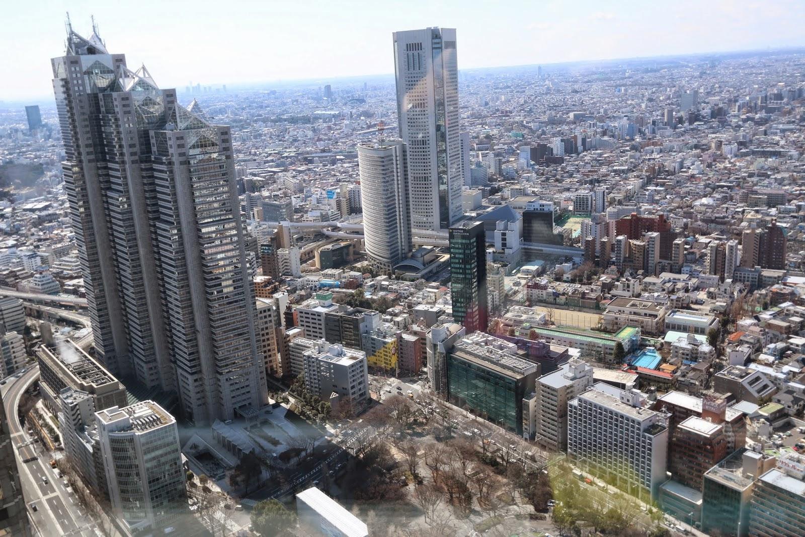 Shinjuku Park Tower and Tokyo Opera City Tower can be seen at observation deck, Tokyo Metropolitan Government Building in Shinjuku, Tokyo