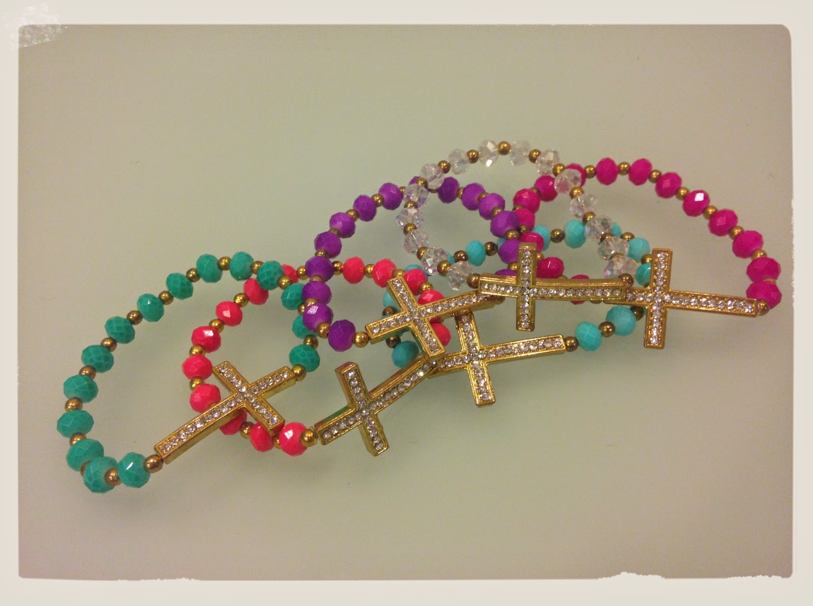 Sparkly Sideways Cross Charm Bracelet | Handmade with Swarovski Crystal Beads