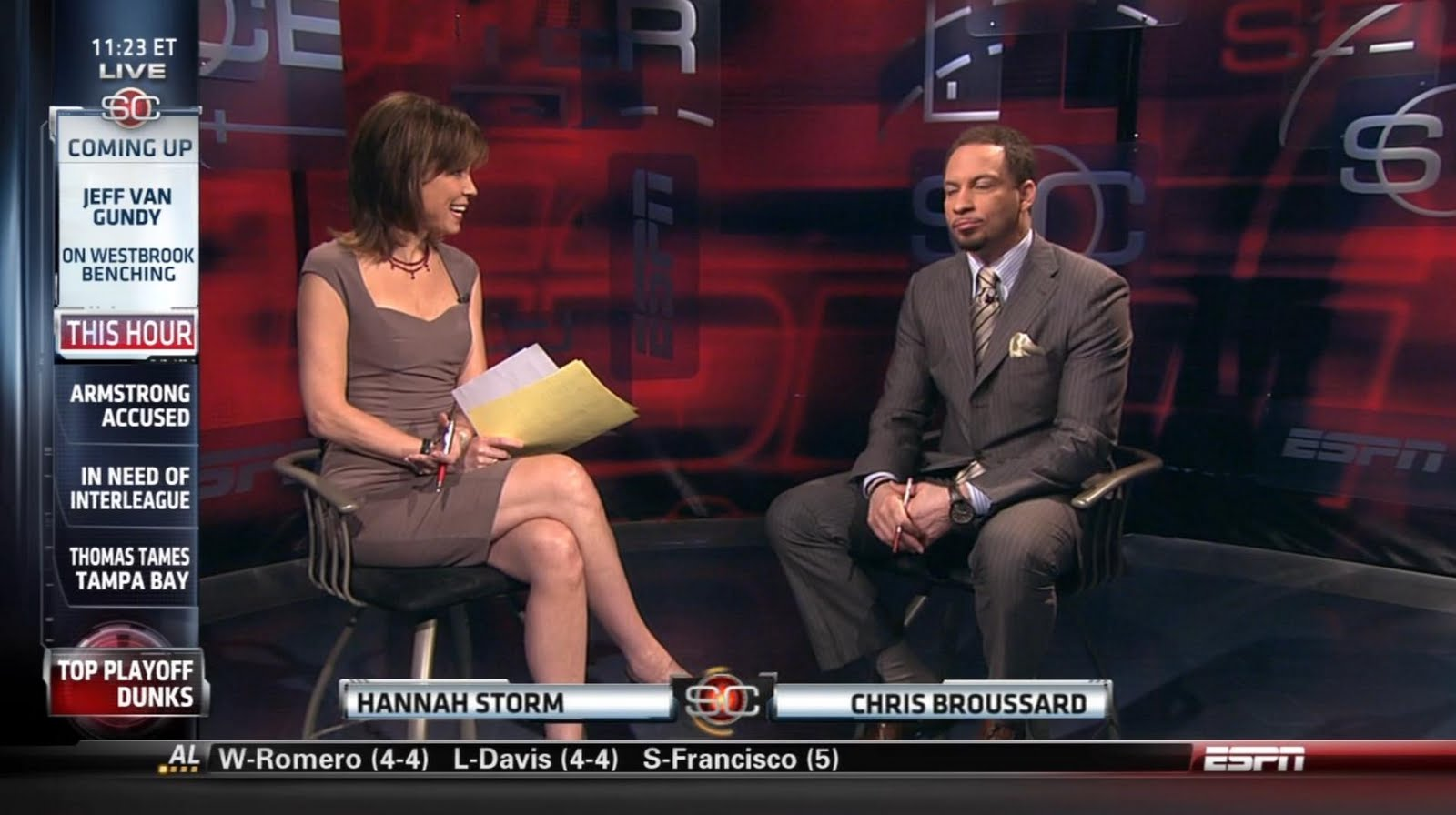 ESPN's Hannah Storm Sexy Legs On Sportscenter - Sexy Leg Cross