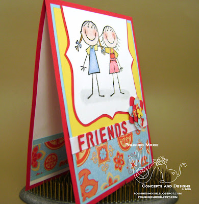 Picture of the front of my friendship card sitting at a right angle to show dimensions of the elements