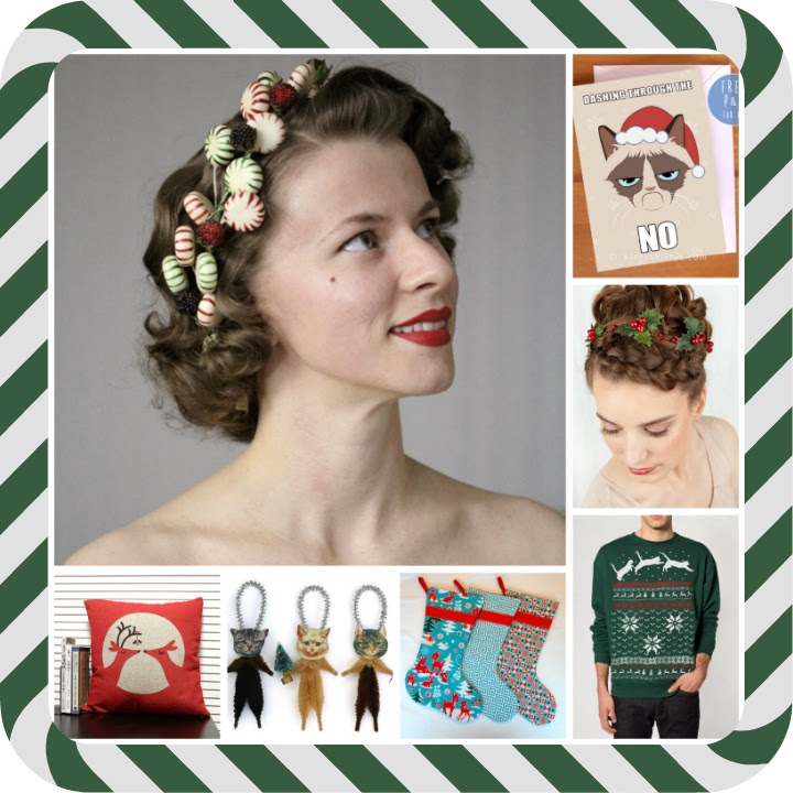 Etsy picks, Etsy wishlist, wish list, Christmas wishlist, homemade, ugly Christmas sweater, cats jumping, teal and red Christmas stockings, reindeer kissing pillow, Victorian style cat ornaments, candy fascinator, candy headband, holly wreath headband, holly garland, Grumpy Cat card, A Coin For the Well