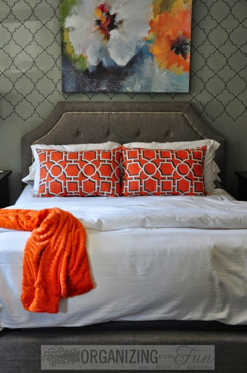 Gorgeous gray and orange master bedroom :: OrganizingMadeFun.com