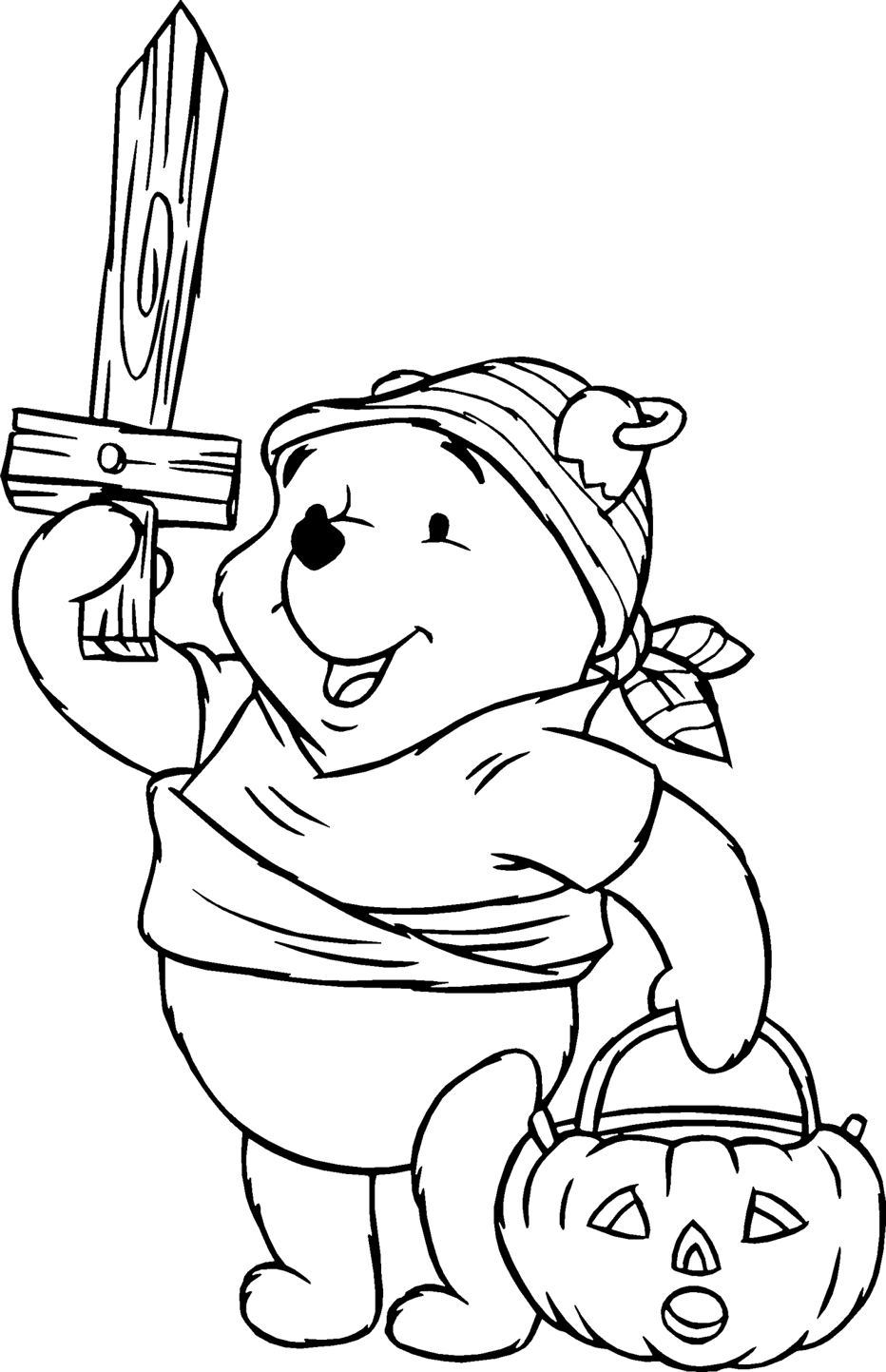 the pooh halloween coloring pages - photo#2