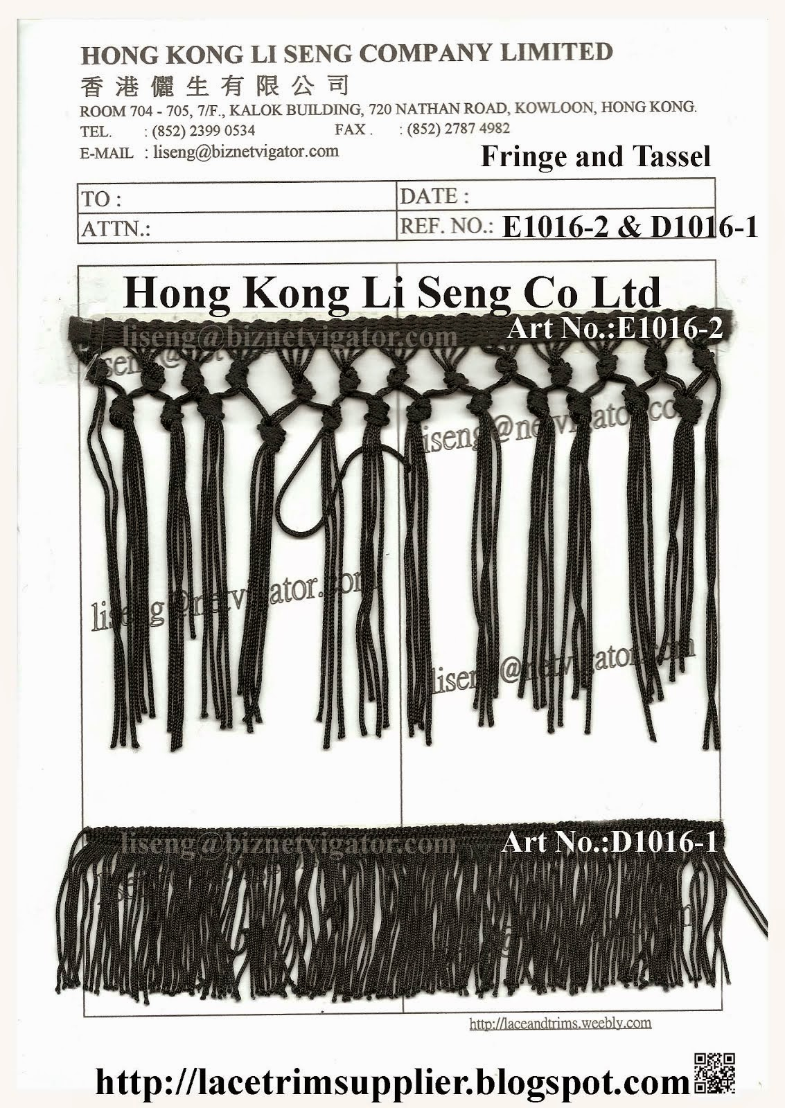 Fringe and Tassel Manufacturer Wholesale Supplier - Hong Kong Li Seng Co Ltd