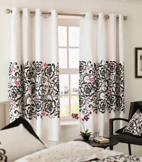 curtains elegant design with black white and red atmosphere floral