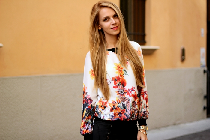 floral top, black jeans