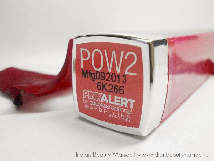 Maybelline Newyork Pink Alert Lipstick in POW 2 name, review, swatch