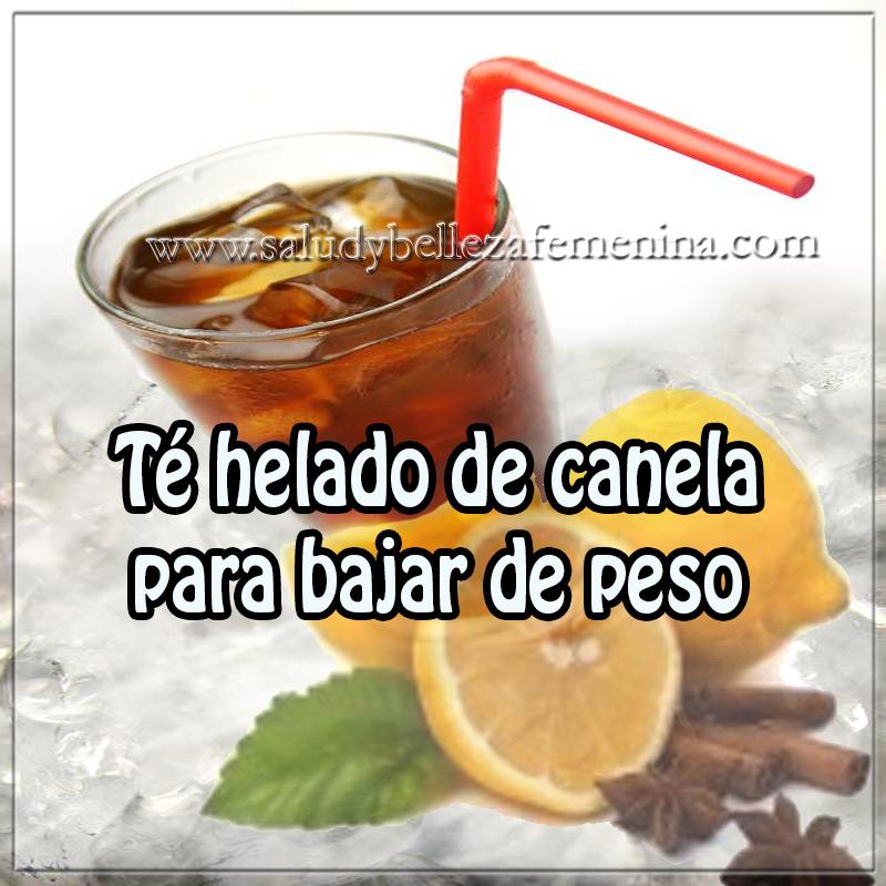 Bebidas para adelgazar,  receta de té helado de canela para bajar peso, receta para quemar grasa, canela, limón , hielo