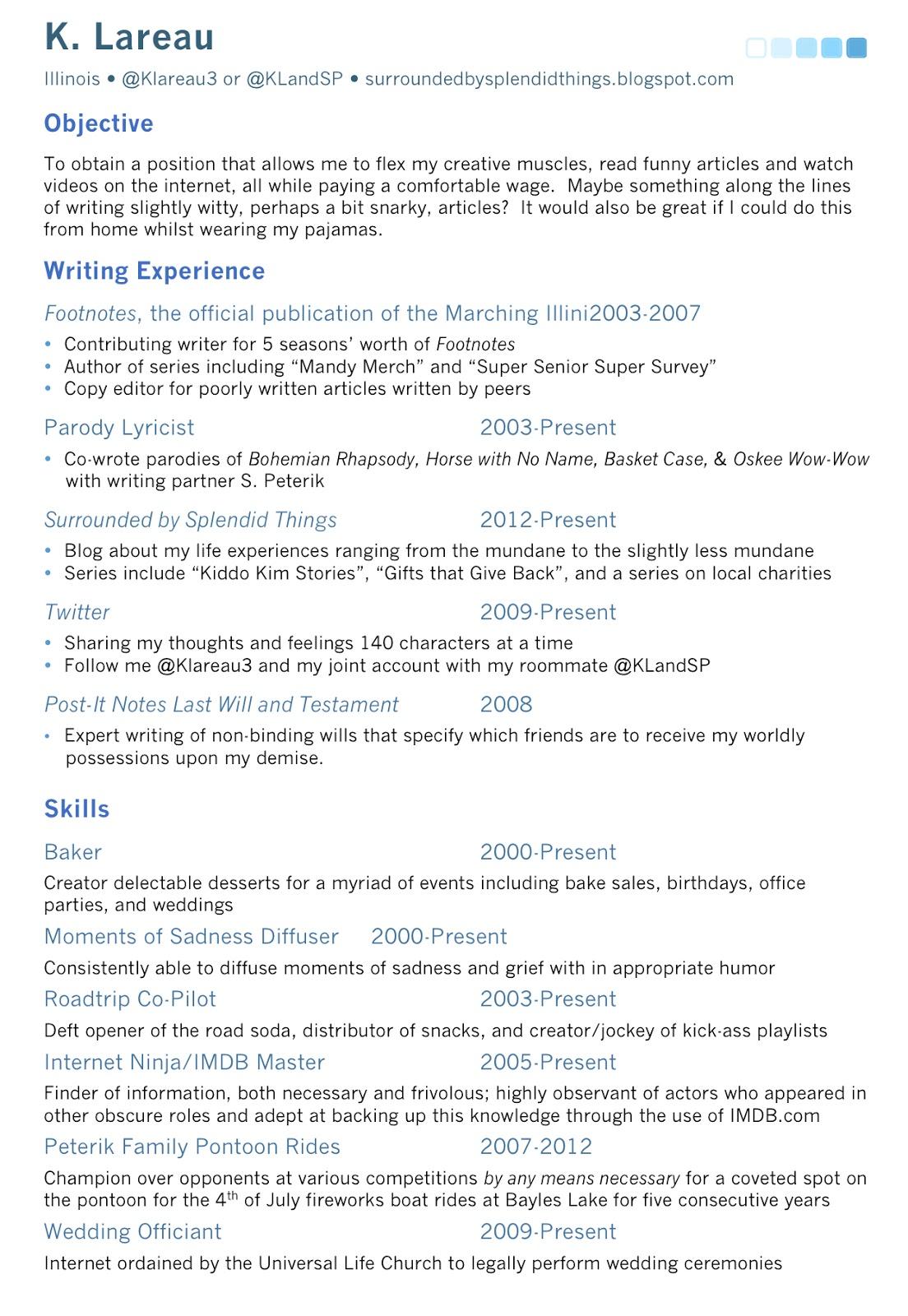 Splendid Things: Fake Resume? Splendid!