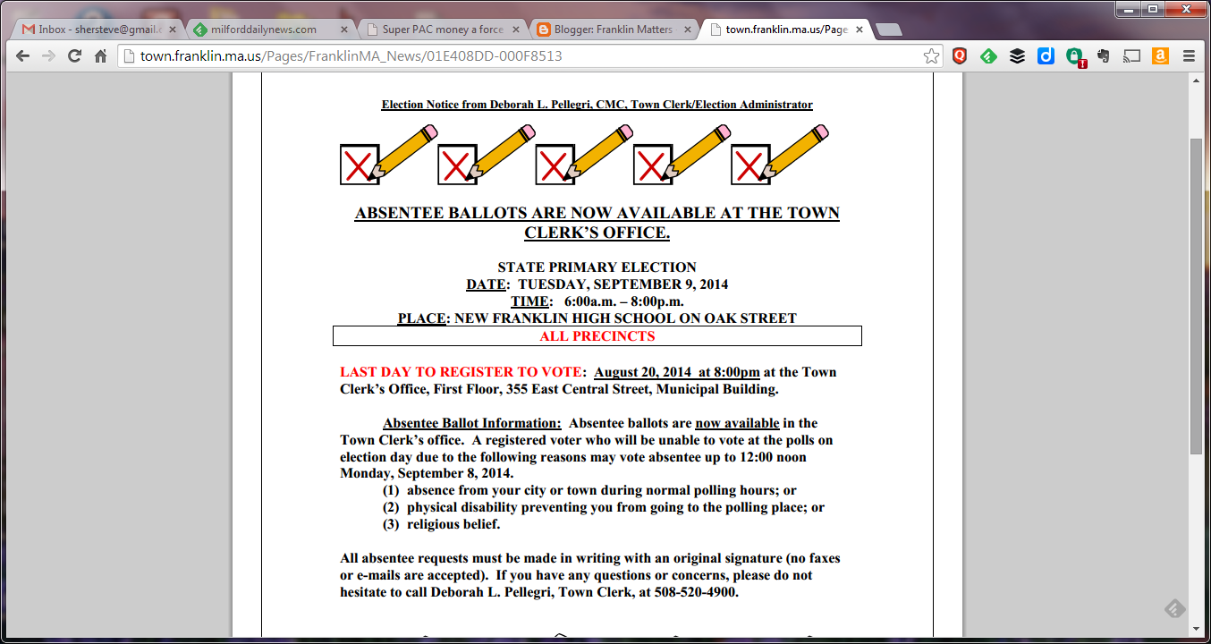 Primary election notice for Sep 9, 2014