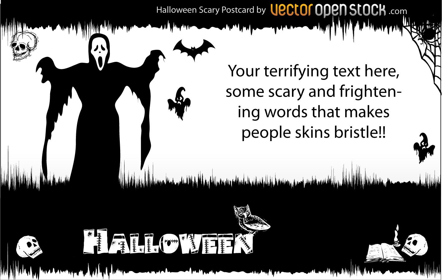死神が襲い掛かるハロウィンの背景 skull ghost horror halloween background イラスト素材