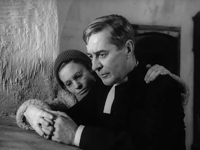 Gunnar Björnstrand and Ingrid Thulin in Ingmar Bergman's Winter Light